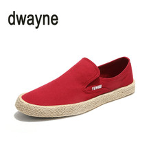 2018 Men's Canvas Shoes Fashion Breathable Slip-on Flat Loafers Men's Vulcanized Shoes Chaussure Homme Size 38-44 Hot Sale