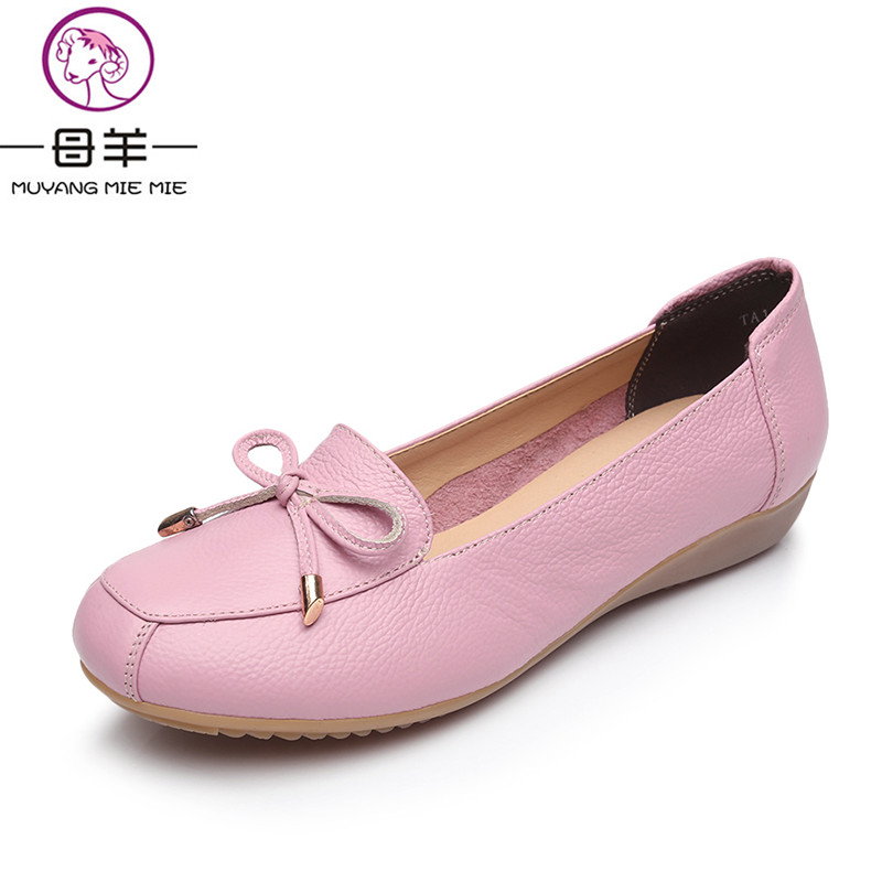 2018 New Fashion Women Shoes Genuine Leather Flat Shoes Woman Bow Single Casual Shoes Maternity Work Shoes Women Flats plus size 34 43 women shoes genuine leather flat shoes woman maternity casual work shoes 2018 fashion loafers women flats