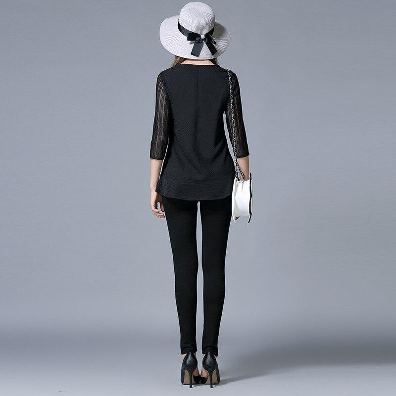 Cou Nouvel Mousseline Basant Soie Lâche Femmes V Grande Engrais Noir De Chemise La Tops Code 2016 Chemisier Taille Automne Plus Femelle XPFpSqg