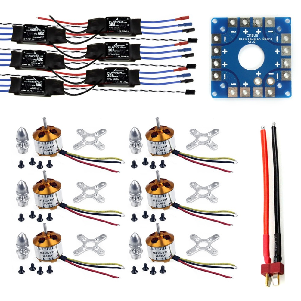 JMT Assembled Kit: 30A ESC + Motor + KK ESC Connection Board Connectors Dean T Plug Wire for 6-Aix Drone Hexacopter tangda connectors servo motor plug aviation plug vw3m8122 17p 17pin 17 core ms3108b 20 29s elbow ydm30200447 a