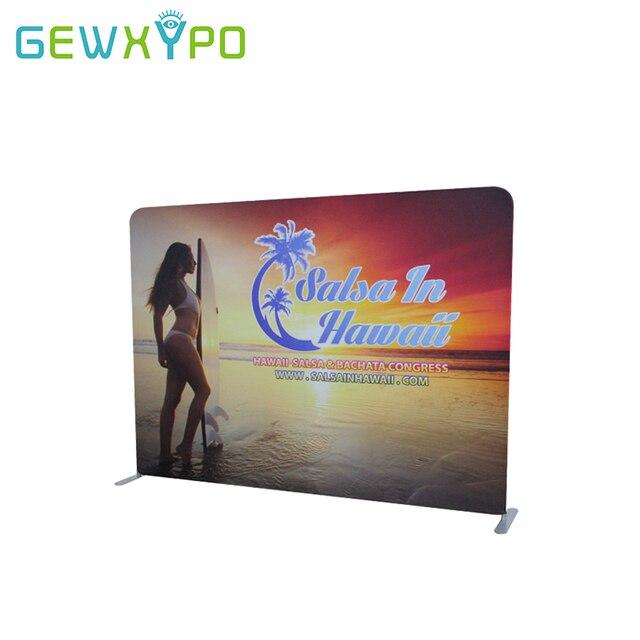 مقصورة عرض 10ft(W)* 7.5ft(H) مستقيم قماش مشدود لافتة عرض إعلاني خلفية الوقوف مع الطباعة التصميم الخاص بك