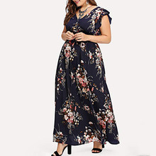 Hot Selling New 2019 Women Plus Size Summer V Neck Floral Print Boho Sleeveless Party Dress L-5XL