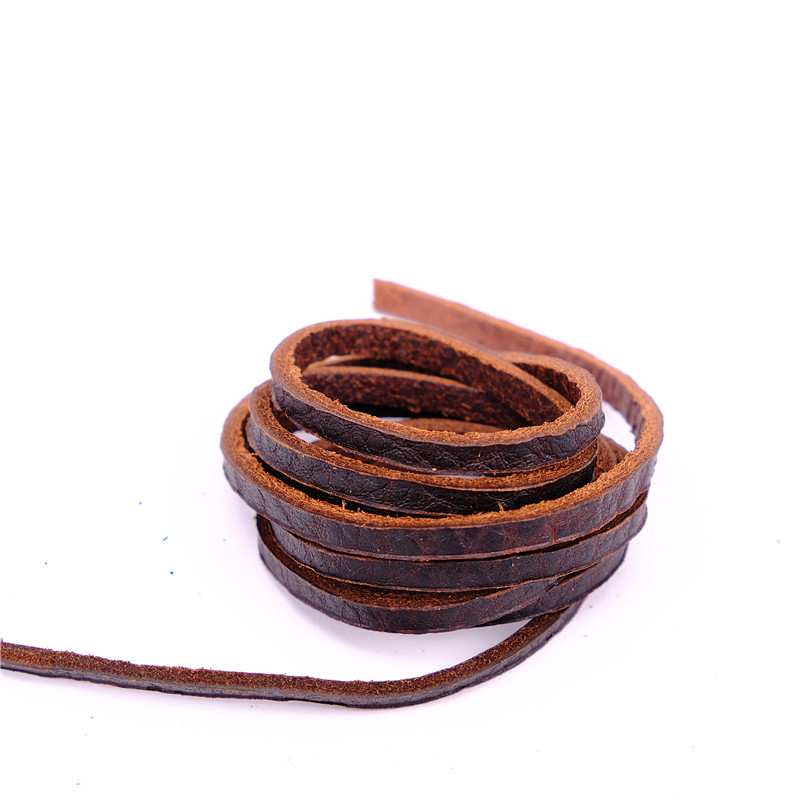 NIUYITID 4MM 1 Meter 100% Genuine Leather Cord String Rope For DIY Necklace Bracelet Jewelry Making Natural Color Real Leather
