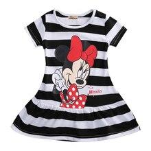 Милое летнее платье для девочек, мини-платье с Минни Маус для девочек, милые детские платья с короткими рукавами