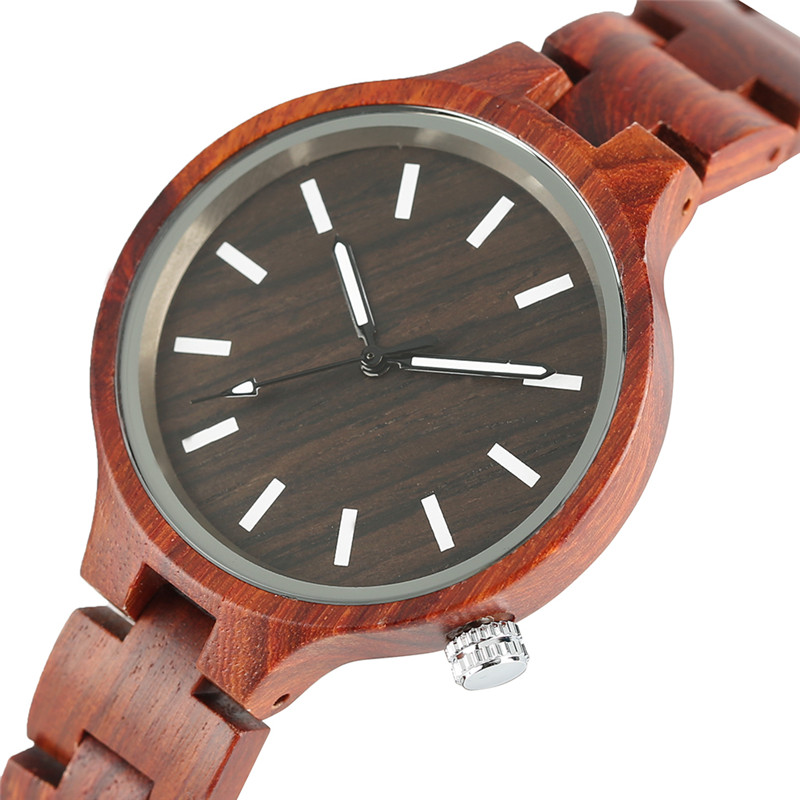 Full Wooden Women Simple Wrist Watch Quartz Red Sandalwood/Wood Strap Bracelet Clasp Handmade Luxury Clock Gift relogio feminino цена