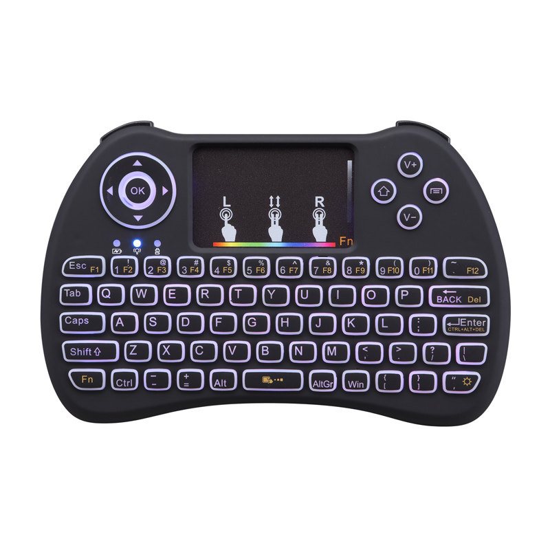 JRGK H9 Mini Keyboard RGB Backlit 2.4G Wireless Fly Air Mouse With Touchpad Qwerty English Remote Control for Android tv box