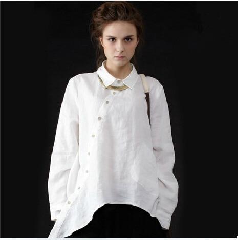 2016 Women Vintage Cotton linen Clothes White Linen Big Shirts Women Casual Loose Long Sleeve Irregular Collar Blouse Tops