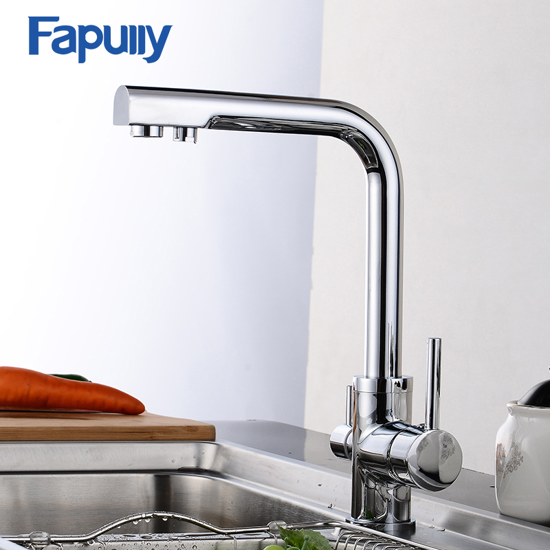 Fapully Kitchen Faucet Mixer Double Spout Drinking Water Filter Tap Kitchen Faucets purified Water Spout torneira cozinha free shipping soild brass lead free kitchen faucet mixer drinking water filter tap with filtered purified water spout wholesale