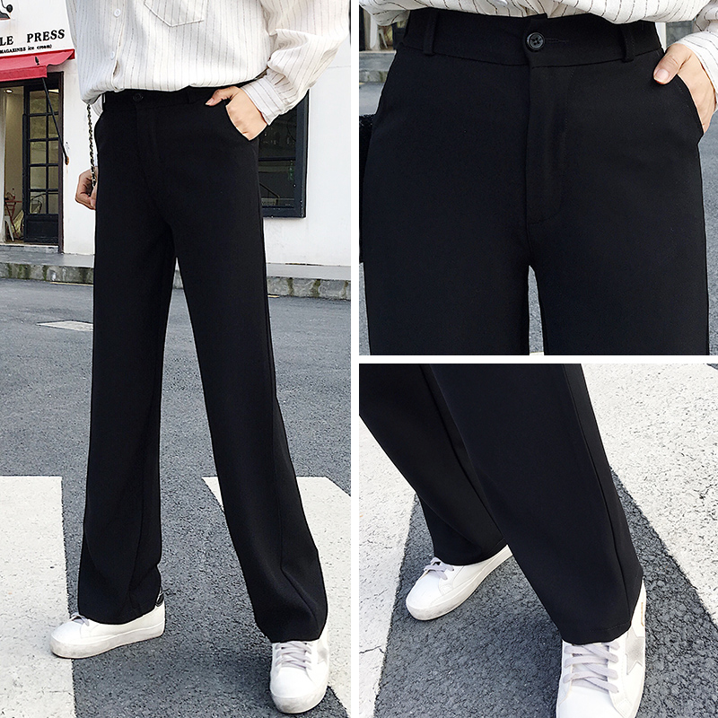 Women   Wide     Leg     Pants   2018 Spring New Fashion Female Casual Basic High-waisted Loose Full Length Bottoms   Pants   Trousers FD15#8606