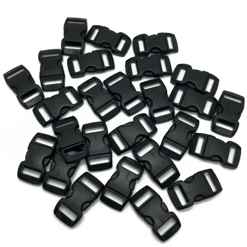100pcs/lot Black plastic 3/8 / 10mm Curved Side Release Buckles Curved Clasp for 550 Paracord Survival Straps Webbing