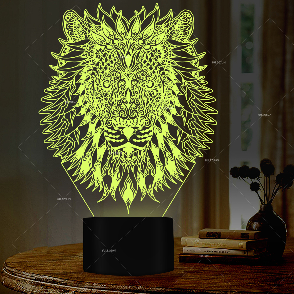 3D Creative Art Lion Head Shape Night Light 7 Changing Colors LED Table Lamp For Home Club Decor Or Festival Gift