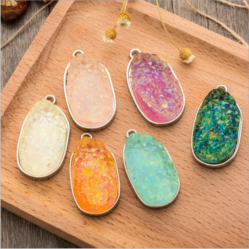 1pcs Titanium Rainbow Opal White <font><b>Raw</b></font> Mineral <font><b>Crystal</b></font> Quartz Druzy <font><b>Pendant</b></font> for Jewelry Making Necklace Drusy Geode Druzy <font><b>Pendant</b></font> image