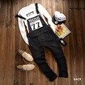 2016 Nuevos Tirantes Pantalones Overol Pantalones de Los Hombres Bolsillos Casual Mono Macho Novio Pantalones Negro OR08