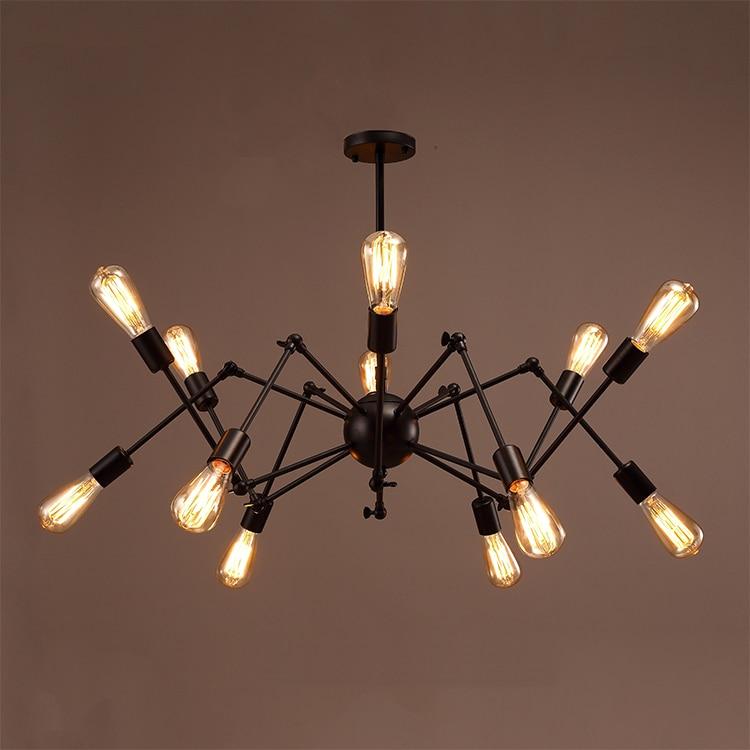 Modern Creative Loft Pendant lights fixtures Art Decoration Lighting E27 Industrial vintage black big Spider Pendant lamp