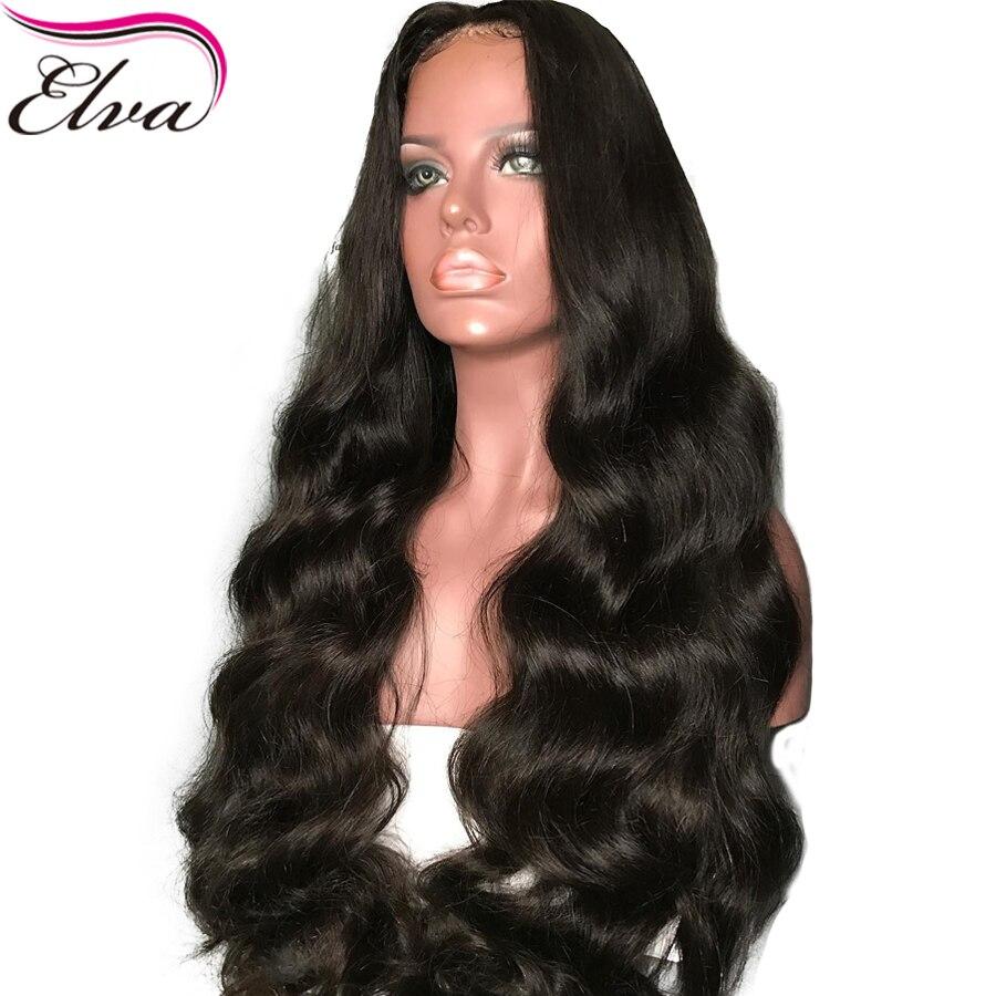 Elva cheveux 13*6 avant de lacet perruques de cheveux humains avec des cheveux de bébé 150% densité pour les femmes noires pré plumées cheveux brésiliens Remy