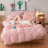 Home Textile 3 pcs Bedding Set Adult Female Soft Duvet Cover Pillowcase Bed Sheet Washed Cotton Embroidery Tassel Duvet Cover