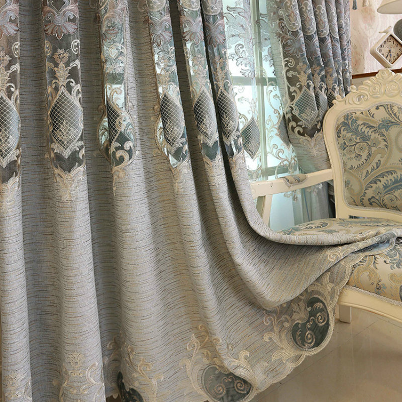 High Quality Modern Luxury Europe Valance Floral Curtains Cloth for Living Room Bedroom Window Curtain Embroidered Tulle