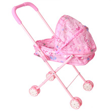 Dolls Accessories Barbie Carts My First Doll Twin Stroller Pink Foldable Double Seat Doll Stroller with Swivel Wheels and Hood