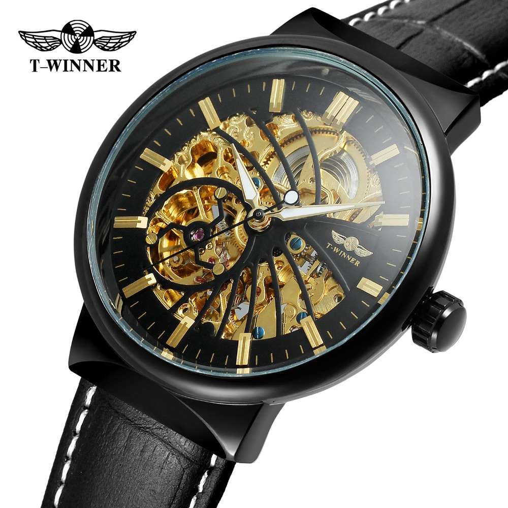 T-Winner Mens Watch Classic Band Automatic Self-wind Genuine Leather Strap Analog Skeleton High Quality Wristwatch WRG8126M3T-Winner Mens Watch Classic Band Automatic Self-wind Genuine Leather Strap Analog Skeleton High Quality Wristwatch WRG8126M3