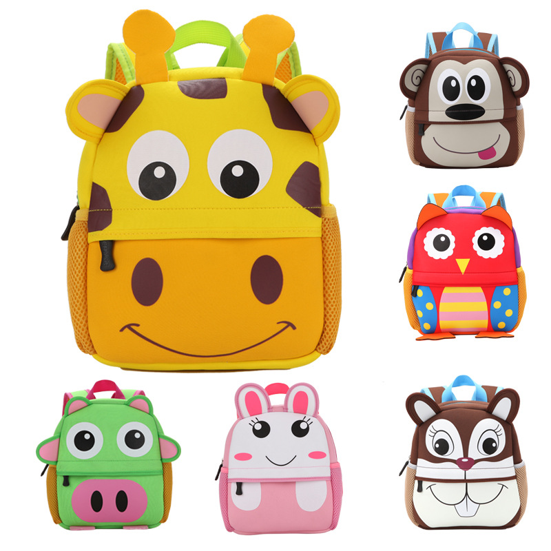 2017 New 3D Animal Children Backpacks Brand Design Girl Boys Backpack Toddler Kids Neoprene School Bags Kindergarten Cartoon Bag
