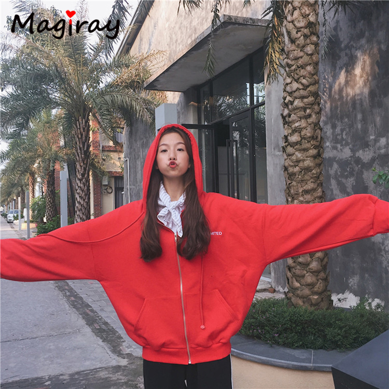 Magiray Ulzzang Large Plus Size Coat Women Jacket Letter Rose Embroidery Outerwear Drop Sleeve Loose Autumn Winter Red Coat C267