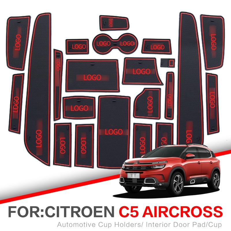 Gate Slot Pad For Citroen C4 C5 2012 - 2019  Aircross DS7 2011 2013 2017 2018 Interior Door Pad Car Cup Holders Non-slip Mats