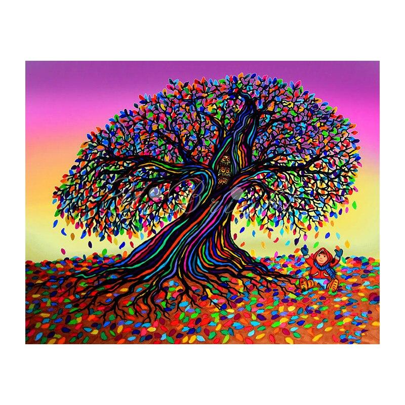 5D DIY diamante pintura Cruz puntada sueños del arco iris y hojas que caen cuadrado lleno de costura ArtEmbroidery decoración del hogar LRR