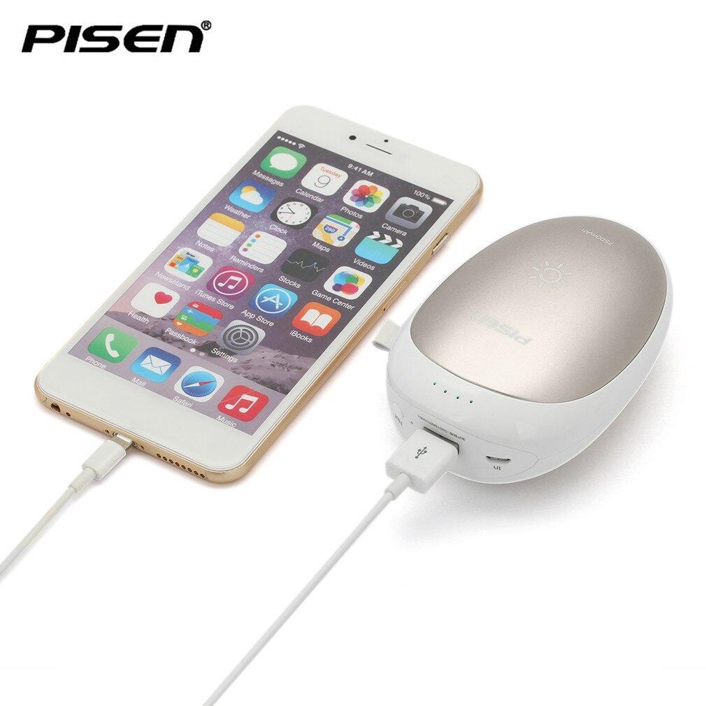 PISEN Cargador de Teléfono Móvil Portátil 5000 mAh USB Recargable Mano Wamer Ban