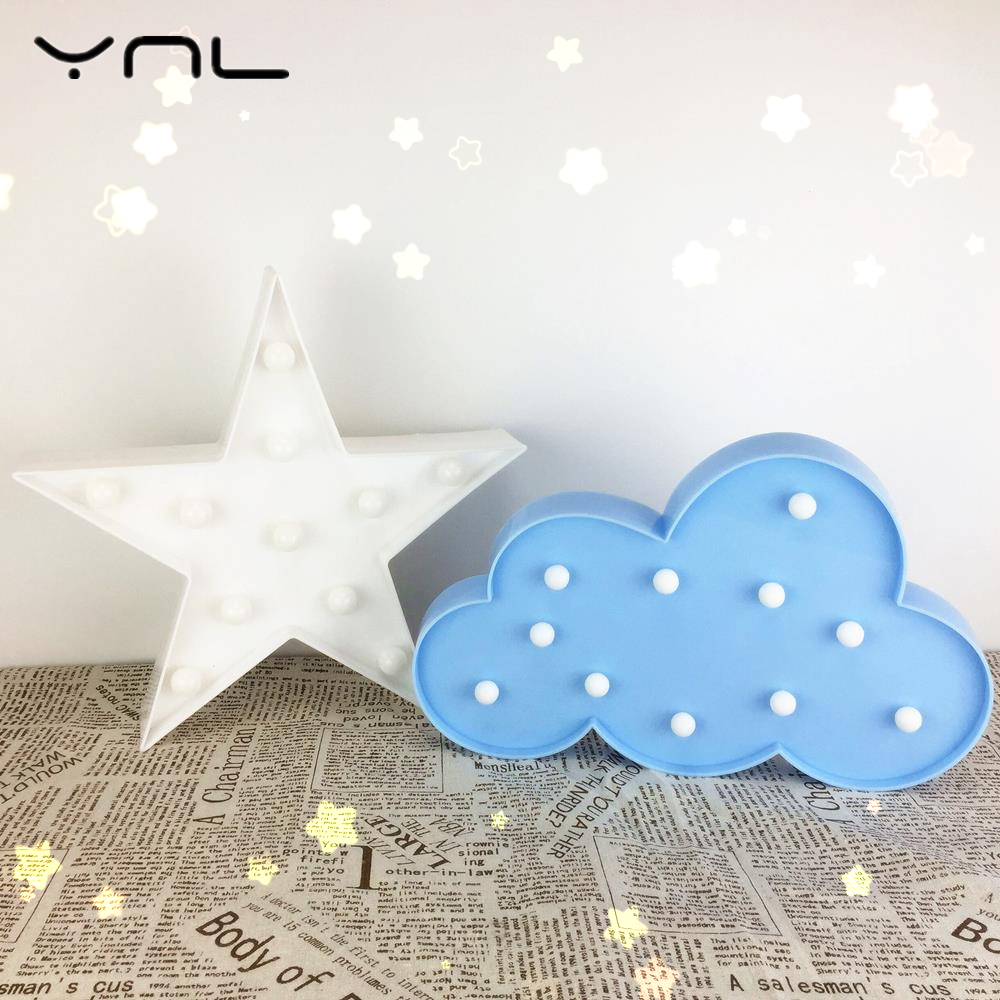 Star Cloud Moon 3D Night Light LED Table Lamp Kids baby Children gift toy Indoor lighting Night lamps wedding decor Romantic