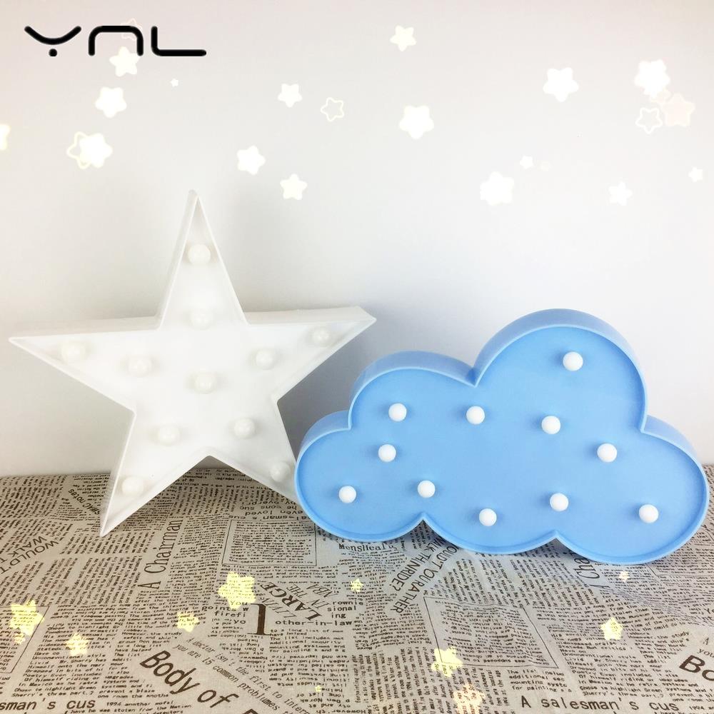 Star Cloud Moon 3D Night Light LED Table Lamp Kids Baby Children Gift Toy Indoor Lighting Night Lamps Wedding Decor Romantic