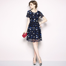 ARiby Summer Women Dress 2019 New Fashion Elegant Lace Short-sleeved Slim Floral Embroidered Knee-Length A-Line O-Neck