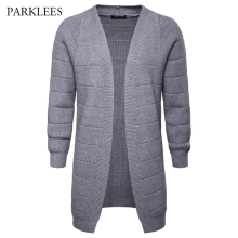 PARKLEES 2018 Autumn Winter Mens Casual Long Sleeve V-neck Knitwear Slim Fit Cardigan