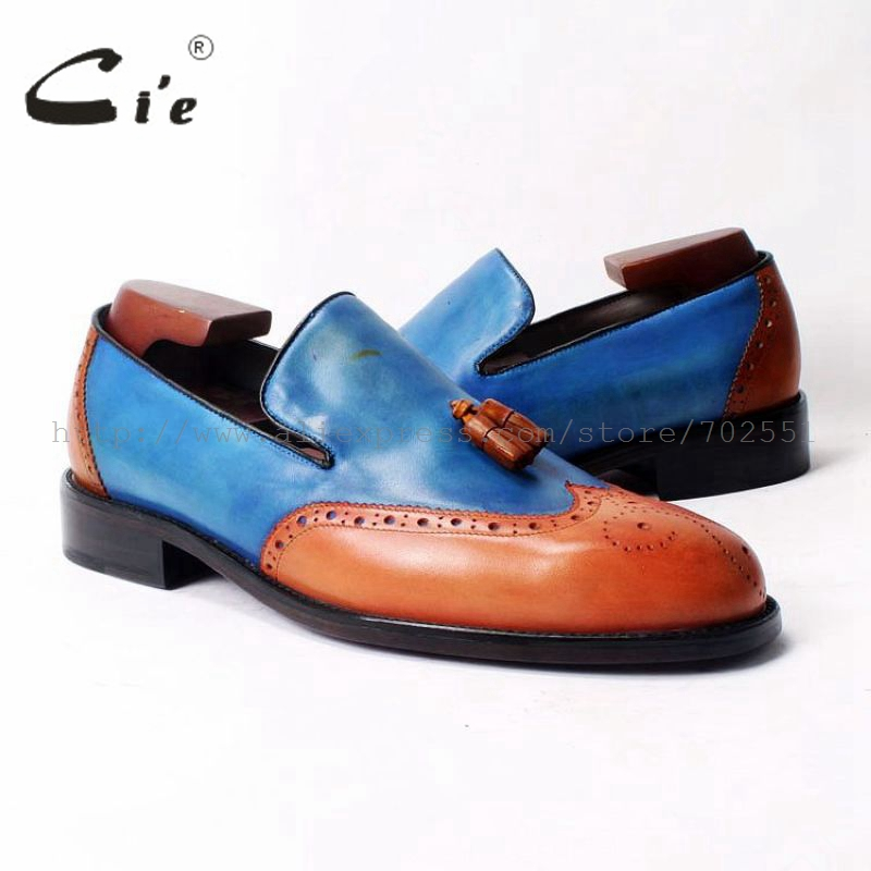 cie Free Shipping Custom Round Toe Glue Craft  Handmade Tassel slip on Casual Calfskin Orange /Blue Leather Men's shoe Loafer 52 cie free shipping handmade tassels round toe full brogues slip on loafer calf leather men shoe leather bottom breathableloafer79