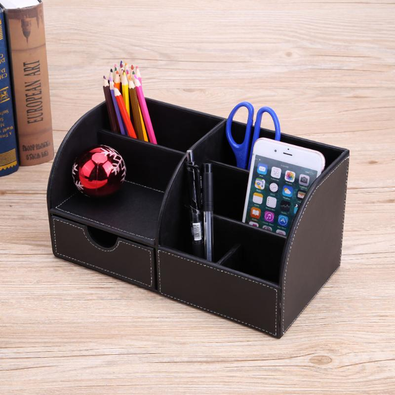 PU Leather Home Desk Remote Control Organizer Box Office School Supplies Stationery Pencils Pens Container Holder Storage Box water resistant drop protection storage container organizer box for chips batteries gadgets