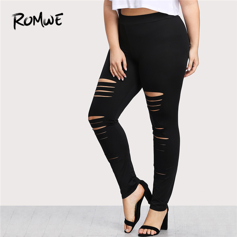 d2830128500 ROMWE Plus Size Leggings High Waist Pants Stretchy Sweatpants Spring Fall  Black Rock Elastic Waist Skinny Ladder Ripped Leggings-in Leggings from  Women s ...