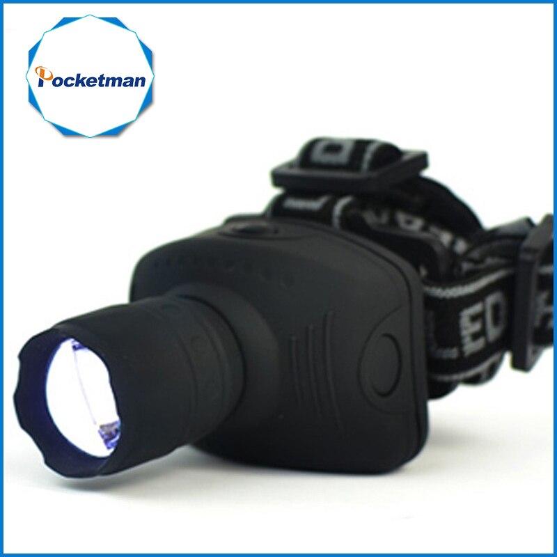 1800 Lumen LED linterna Frontal linterna Zoomable cabeza linterna Luz de bicicleta lámpara para Camping caza