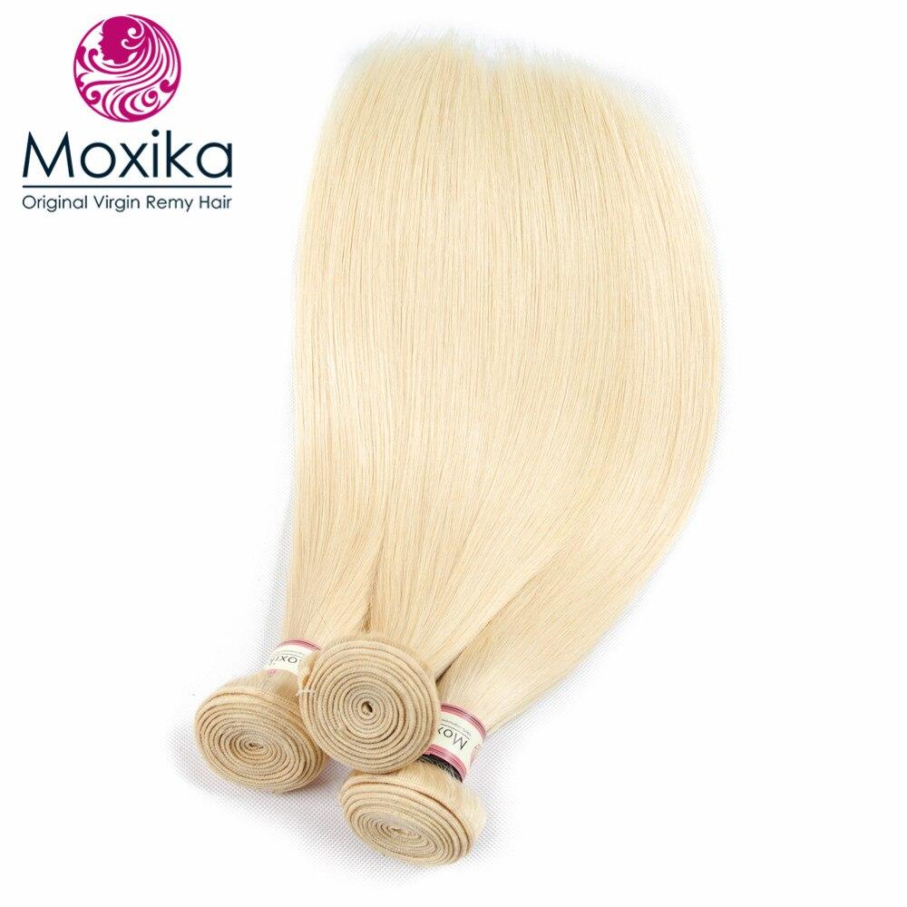 Moxika 613 ブロンドバンドル前頭閉鎖ペルーストレート 3 バンドル 100% 人毛レミーヘアエクステンション 4 ピース/ロット  グループ上の ヘアエクステンション & ウィッグ からの 3/4 バンドル留め具付き の中 3