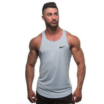 26a4d197156 Verão Academias de fitness Musculação Regatas Stringer moda mens Crossfit  roupas Soltas respirável camisas sem mangas Colete