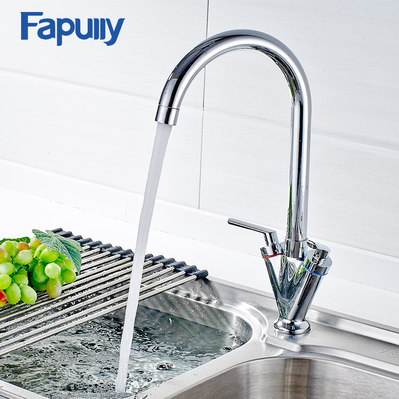 Fapully Kitchen Sink Tap Deck Mounted Dual Handle Chrome Mixer Tap 360 Degree Rotating Swivel Cold