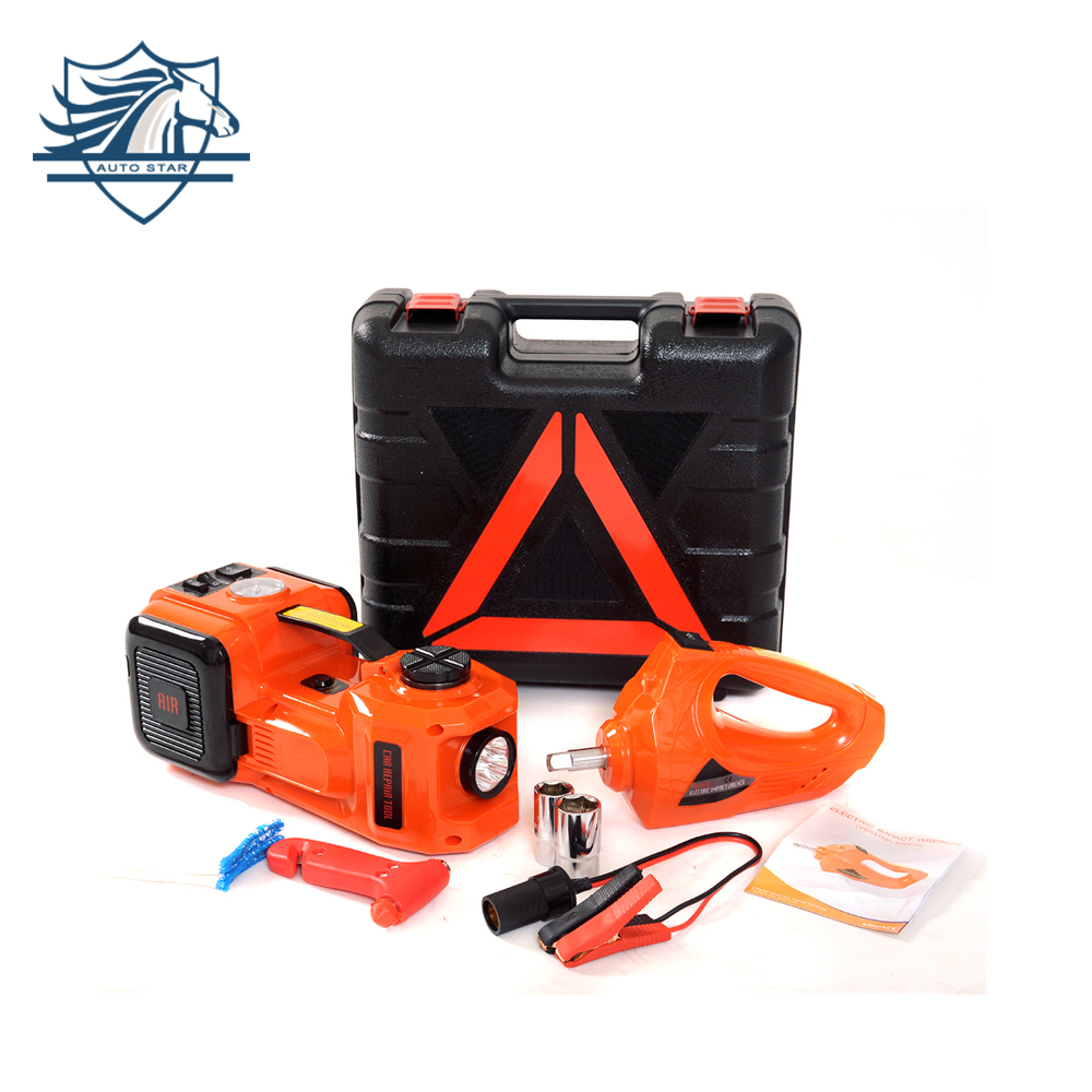 12V 5Ton Car Jack Electric Hydraulic Jack Protable Tire Jack Electric Wrench Impact Socket Wrench Tire Inflator LED Light 4 In 1
