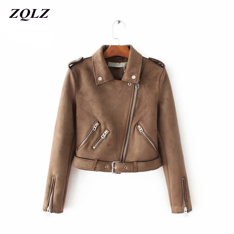 ZQLZ Autumn winter Motorcycle   Leather   Women 2018 Faux   Suede   Jacket Slim   Leather   Jackets fashion Lapel Punk Outwear coat