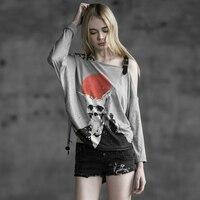 PUNK RAVE 2017 nuevo diseño de moda de verano Camiseta mujer, cráneo Camiseta mujeres topsPT-034