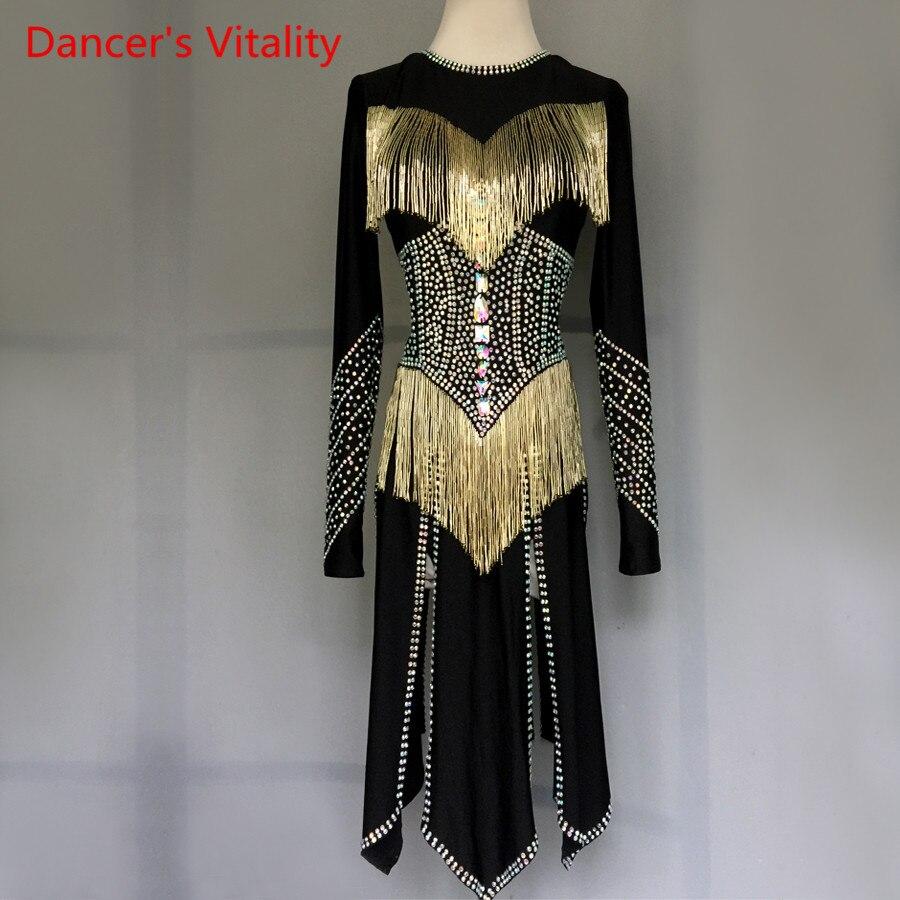Professional custom made Women girls Latin Dance Costumes luxury Rhinestone Skirt tassel Salsa Samba Rumba Ladies Latin Dress