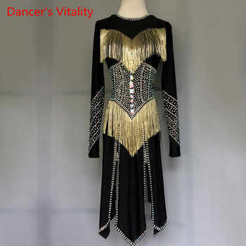 Professional custom made Women girls Latin Dance Costumes luxury Rhinestone Skirt tassel Salsa Samba Rumba Ladies Latin Dress - DISCOUNT ITEM  10% OFF All Category