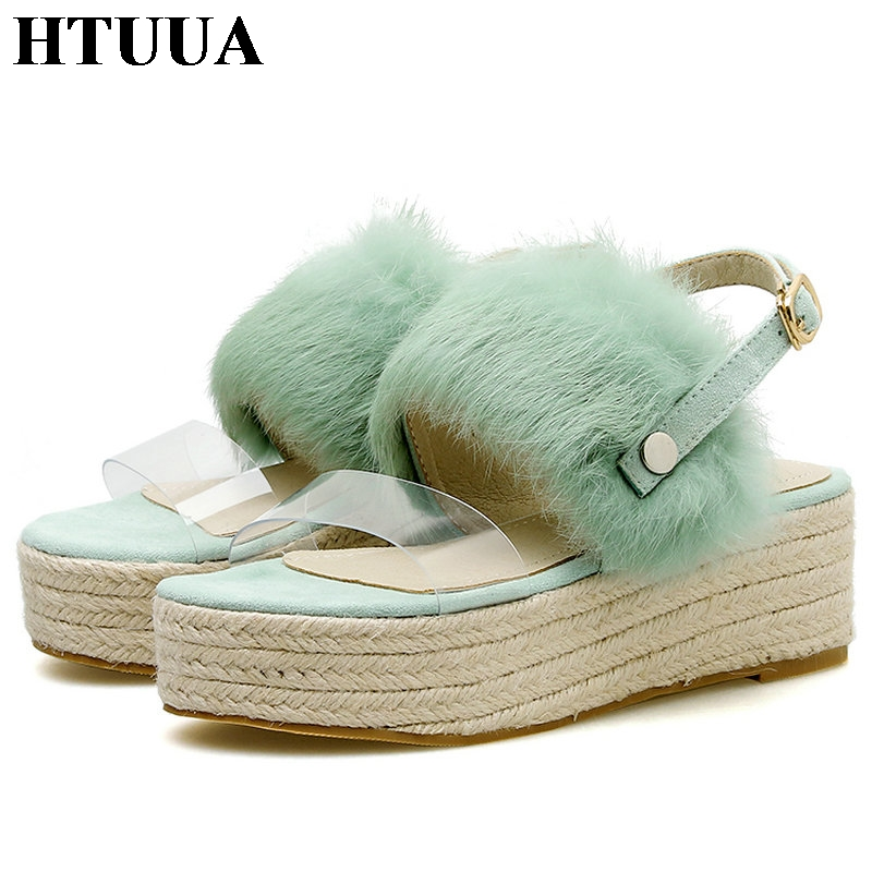 HTUUA Wedges Platform Sandals Chunky-Heels Shoes Straw-Weave Open-Toe SX2953 Outside