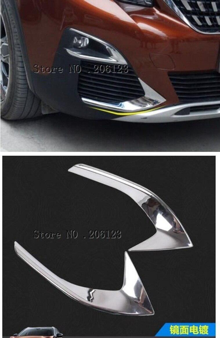 Para Peugeot 3008 3008GT 2017 2018 ABS Cromo Brilhante Cabeça Frente Luz de Nevoeiro Lâmpada Foglight Eyebrow Pálpebra Capa Guarnição 2 pcs