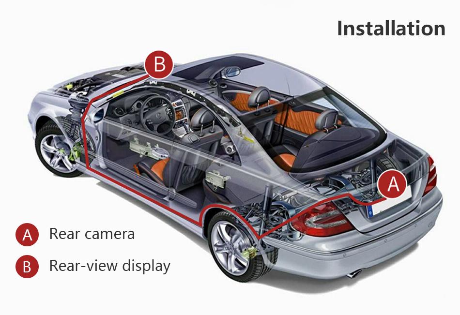 """Jansite 4,3 """"monitor de coche TFT LCD cámara de visión trasera. 15"""