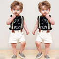 3Pcs Boys Clothing Sets Fashion Boys Suit 2017 Summer Sleeveless Letter Printed T-shirt+Short pants+Straps Set Free Shipping