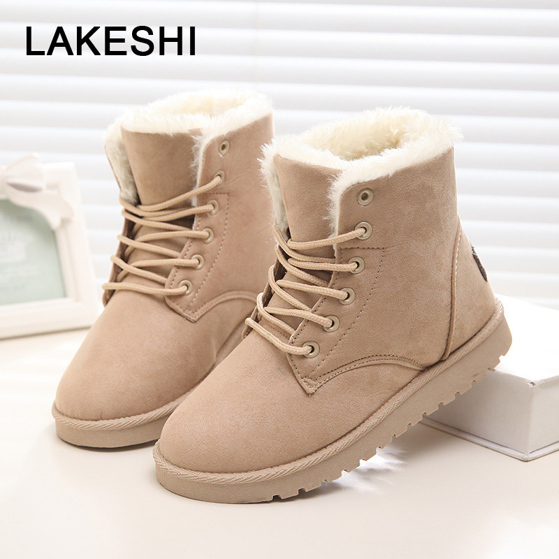 LAKESHI Winter Women Ankle Boots Warm Plush Snow Boots Round Toe Casual Boots Fashion Female Shoes Flock Women Flat Cotton Shoes fashion keep warm winter women boots snow boots 2017 buckle cotton boots women boots shoes