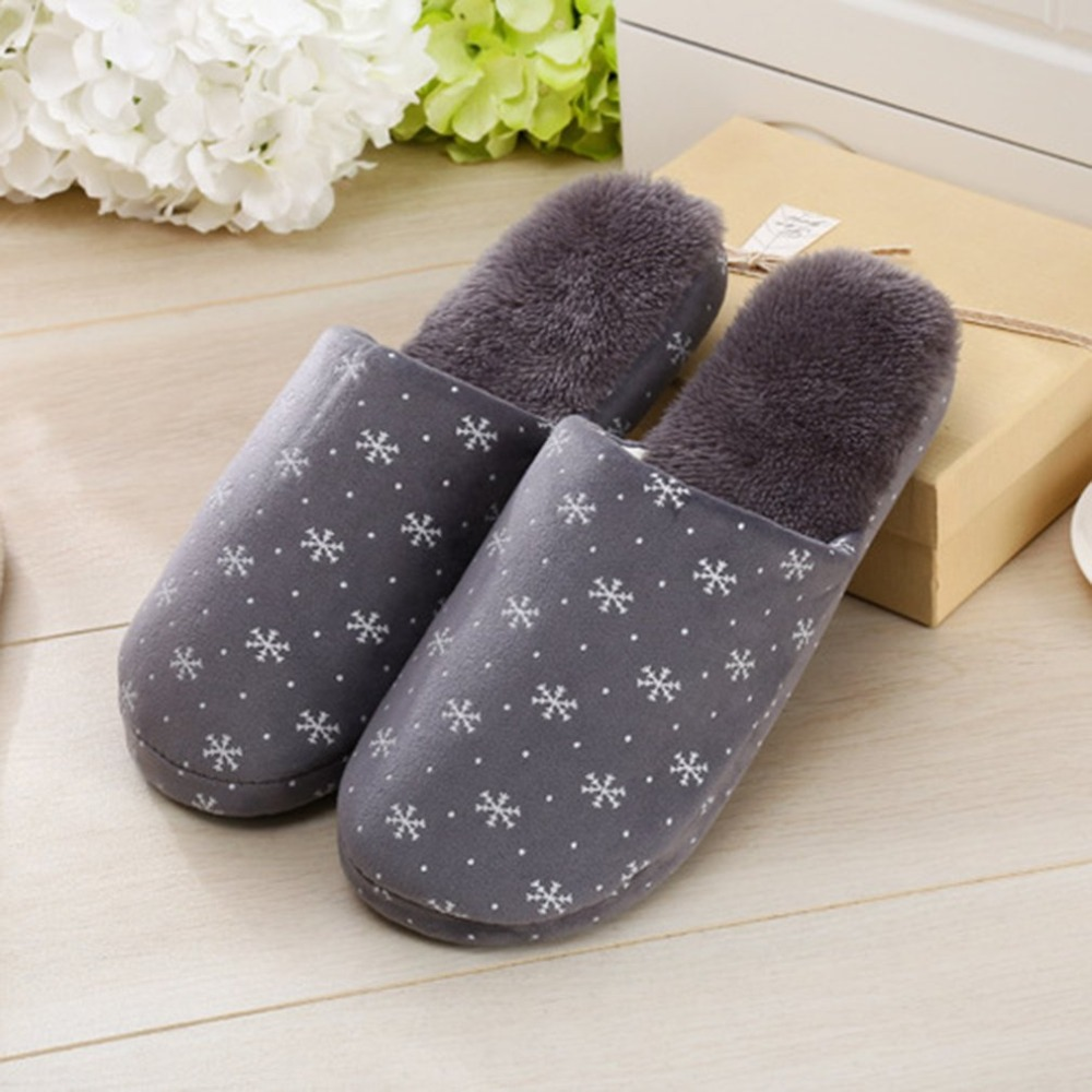 Outad Snow Flowers Winter Home Warm Comfortable Anti-skid Soft Indoor Women Slippers For Ladies Shoes
